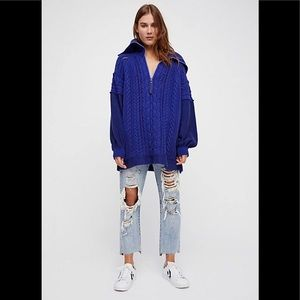 Free People cable knit 1/2 zip oversized sweater